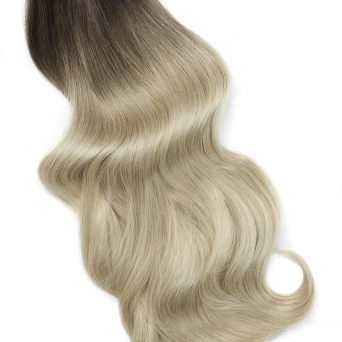Clip in Extensions Echthaar Set Ombre Braun Blond #4/613 100g