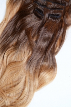Clip in Extensions Echthaar Set Ombre Browndark-Caramel #1C/18 160g