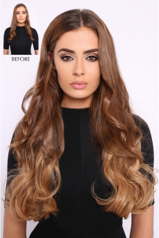 Clip in Extensions Echthaar Set Ombre Chocolate Light #T4-18
